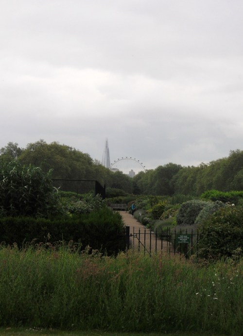 One of the various garden paths in the park.  The London Eye in the back; a reminder you're still in the middle of London!