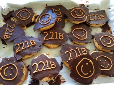 BBC Sherlock baking 221B Baker Street Smiley Cookies Butterscotch