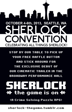 Sherlock the Game is On Seattle convention poster image