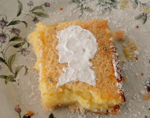 Rosemary lemon bar with bbc sherlock powder sugar silhouette