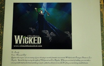 wicked musical tickets IOU gift