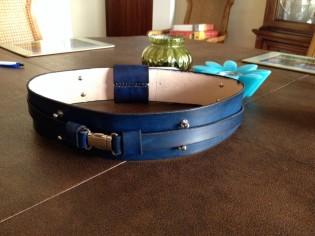 Blue leather Jedi belt by atelier akinra