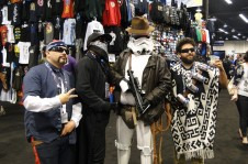Star Wars Celebration Anaheim 2015 funny cosplays - Indiana Jones Stormtrooper and stereotype Mexican Han Solo, Chewbacca, Vader cosplay
