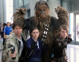 Star Wars Celebration Anaheim 2015 group cosplay photo, Han Solo, Chewbacca, Anakin, brookenado kotor jedi