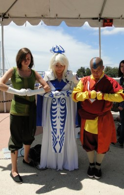 Avatar State Korra, Aang, and Raava group cosplay