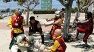 Airbender cosplay, Aang, Appa, and Jinora terrorize Cabbage Man