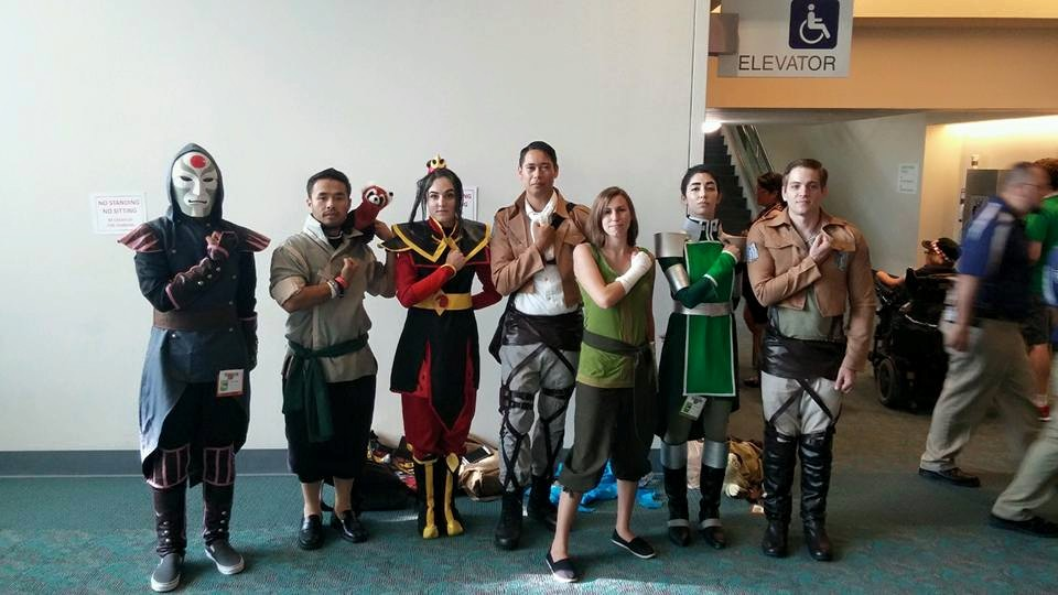 Avatar Korra Group Cosplay Squad Salutes With Attack On Titan Cosplayers