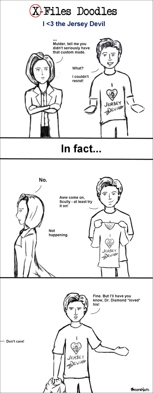 X-Files Doodles - Mulder couldn't resist an 'I heart the Jersey Devil' shirt & Scully is less than thrilled