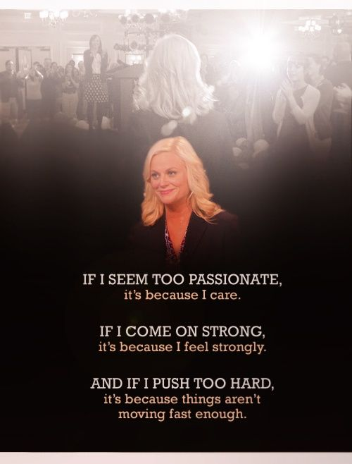 Parks and Rec - Leslie Knope if I seem to passionate